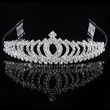1pc Bridal Tiara Prom Rhinestone Crystal Hair Pin Comb Heart Crown Headband 6 Styles Women Wedding Party Jewelry Accessories