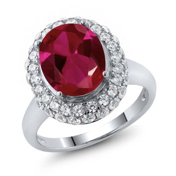 Classic Royal Red Created Ruby 4.51 Ct Oval 925 Sterling Silver Ring