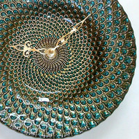 Unique Wall Clock - Turquoise Green and Gold Glass Plate Wall Clock - 9 Inch Wall Clock Kitchen Clock - Home and Living  - No. 1305
