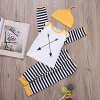 Tops + Pants Hat 3pcs Autumn Baby Boys Girl Clothing Outfits Set Newborn Baby Girl Boy Clothes Sets Long Sleeve Striped