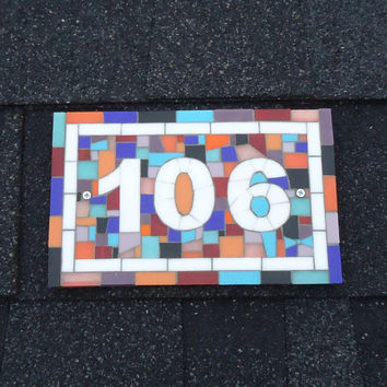 Colorful Modern Outdoor House Numbers in Mosaic Pink, Red, Blue, Turquoise, Purple, Orange and White