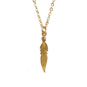 Mini Lucky Feather Charm Necklace in Gold