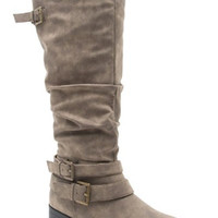 Distressed Taupe Buckle Boots