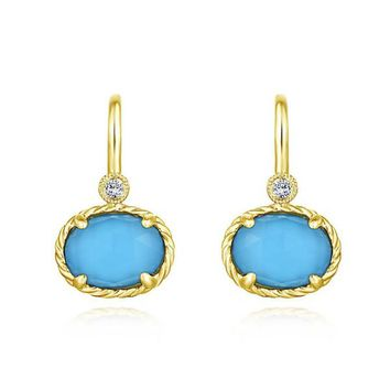 Gabriel Turquoise and Rock Crystal Diamond Earrings