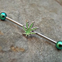 Industrial Barbell Pot Leaf Green Leaf 14ga Body Jewelry Ear Jewelry Double Piercing Cartilage Earrings