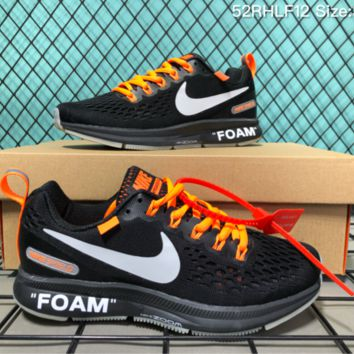 DCCK2 N022 Nike Air Zoom Foam Shield Pegasus Off White 34 Flyknit Runnig Shoes Black Orange