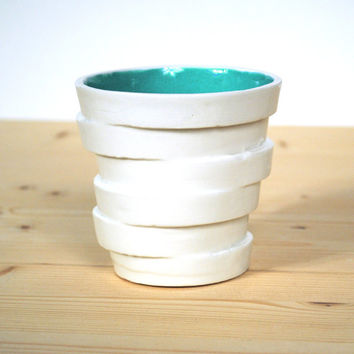 Modern ceramic cup in non concentric slices  - torn - tea mug - color mug coffe cup - tumbler - Stacked Cup - sliced circles - Emerald green