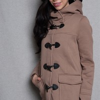 Love Tree Hooded Duffle Coat With Toggle Buttons - Taupe