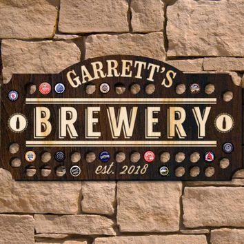 Home Brewery Beer Cap Custom Wall Sign (Signature Series)