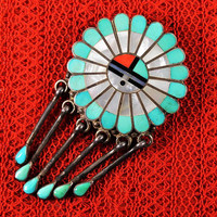 Zuni Sunface Pendant Pin Combination