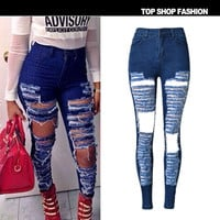 Summer Fashion Strong Character Ripped Holes High Waist Slim Stretch Plus Size Jeans [8864418375]