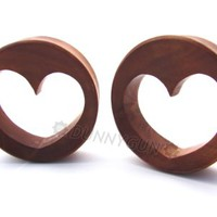 "1 3/8"" Pair Red Saba Heart Tunnel Wood Gauged Plugs Dunnygun Organic"
