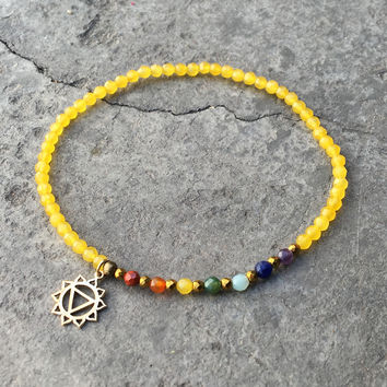 Solar Plexus Chakra Anklet, Chakra Gemstones and Yellow Jade Anklet