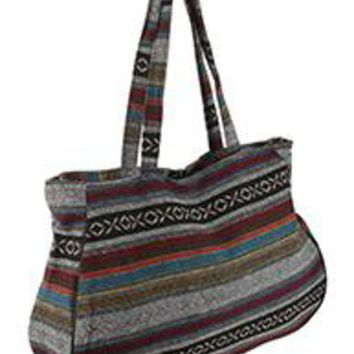 TRIBAL Pattern Large Jumbo Tote Handbag Gym Travel Bag Multi Colored 20 W X 13 T