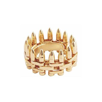 Gold Plated Magnum Revolver Bullet Ring