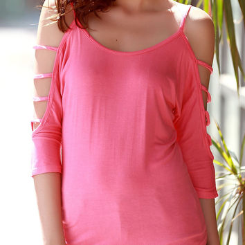 Solid Color Cut-Out Sleeve Casual Blouse