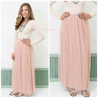 Keeping Secrets Rose Tulle Maxi Skirt