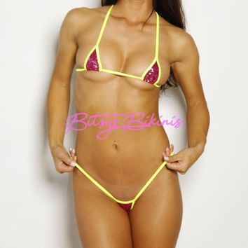 Euro - Hollywood Pink Sequin - Neon Yellow String