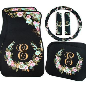 Mint and Gold Floral Monogrammed Car Mats Classy Black Monogram Car Floor Mats Steering Wheel Cover Seat Belt Covers Custom Car Accessories