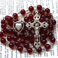 Sacred Heart Rosary - Large Rosary, Loretto Crucifix, Dark Red Czech Glass Beads, Catholic