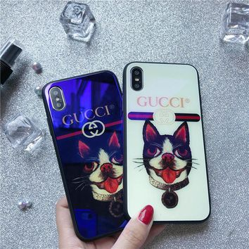 IPhonex mobile phone shell apple 8plus package 6S glass shell protective sleeve gucci7 men's and women's