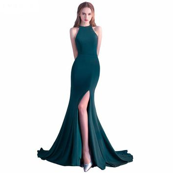 New Fashion Sexy O-neck Party Evening Dress Side Slit Emerald Green Mermaid Evening Dresses
