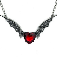 Red Heart Stone Silver Vampire Bat Wing Necklace
