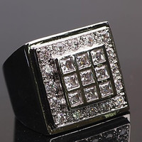 Vogue 18K White Gold Filled Cut CZs Mens Ring Size9