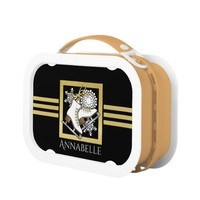 Ice | Figure Skating Black Faux Gold Girls Name Lunch Box