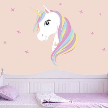 Cute Unicorn & Bling Stars Wall Decal Art Stickers Vinyl Home Room Decorations