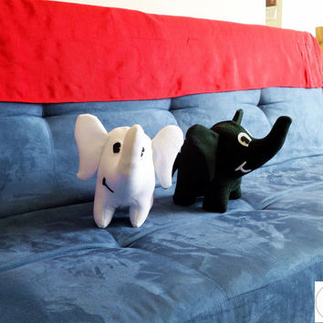 Plush Elephant (medium sized, black or white felt plushie)