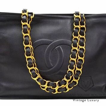 CHANEL VINTAGE XL LARGE TOTE BAG IN BLACK LAMBSKIN LEATHER GOLD HARDWARE GHW A1
