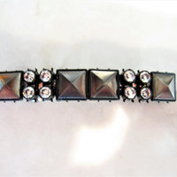 Small dark metal and rhinestone hair clip clamp barrette