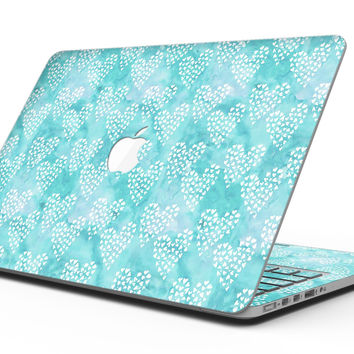 Green and White Watercolor Hearts Pattern - MacBook Pro with Retina Display Full-Coverage Skin Kit