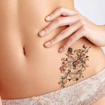 Floral Skull Tattoo,Fashion Tattoo,Wedding invitation,Wedding Gift