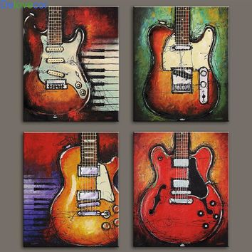 4 pieces Still Life Pictures Print On Canvas Abstract Guitar Wall Pictures For Living Room Wall Art Music Paintings Unframed