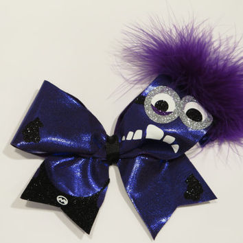 2 1/4 inch Evil Minion cheer bow with Glow In the Dark features