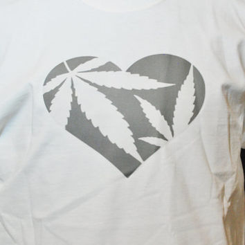 "T shirt , Weed, Casual, Free Shipping, ""HEART WEED"", White, Graphic Design, Marijuana, Medical Cannibis, Pot, High Times, 420, Baked, Bong"