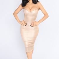 Caddie Lurex Midi Dress - Rose Gold