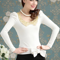 ROMWE | Sequined Collar White Shirt, The Latest Street Fashion