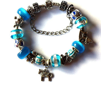 Toy Story Inspired Charm Bracelet - Ideal for someone who loves vintage toys - Plenty of toys - Blue - Gift idea for girls - For woman