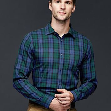 Gap Men Blackwatch Oxford Shirt Slim Fit
