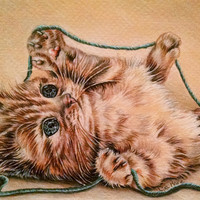 Orange Cat with Yarn, custom pet portrait, original pencil drawing, cat lover, pet mom, drawing handmade wall art gift, brown, blue, cute