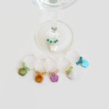 Wine Glass Charms with Flowers