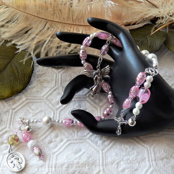 Light Pink & Ivory Divine Mercy Chaplet W/Charms Saints/Cross/Angel/Christ