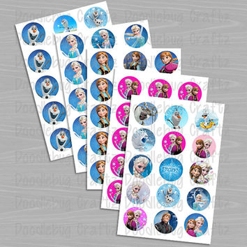 "SAVE 20% - 5 Sets Frozen Disney - Elsa Anna, Olaf Princess Bottle Cap Images Birthday Party Favor Tags Printable Instant Download 1"" circles"