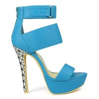 Mark and Maddux Divina-03 Perforated High Heel Platform Pump in Blue @ ippolitan.com
