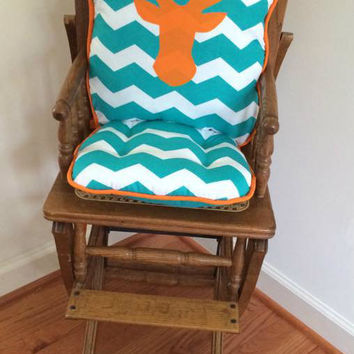 Ready to Ship Deer Trophy Head Teal Chevron Herringbone Applique High Chair Cushions, High Chair Pads, Wooden Highchair