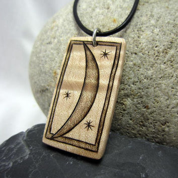 Crescent Moon Necklace, Moon and Stars Pendant, Rectangle Wood Pendant Necklace, Black Leather Cord Necklace
