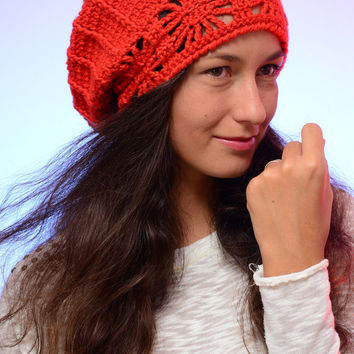 Orange slouchy hat, chunky hat, crochet hat,  autumn fall hat, slouchy beanie, winter knitted hat, chunky beanie. Christmas gift.
